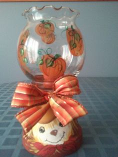 Autumn themed candle holder - for sale in my craft store