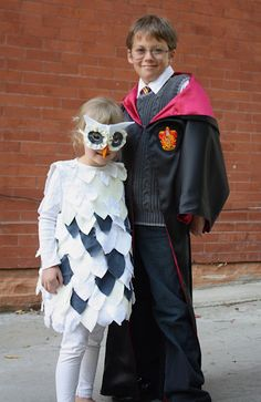 Owl costume (cute with Harry Potter older sibling)  Rachel could see you doing this to The kids Hahahah
