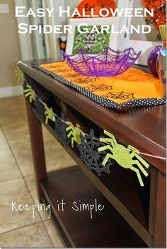Easy Halloween Decoration- Spider Garland #pickyourplum #bakerstwine #halloween #spider #silhouette @keepingitsimple
