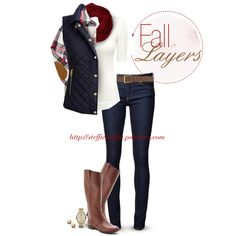 Fall Layers: Vest, Plaid shirt & Scarf, created by steffiestaffie on Polyvore