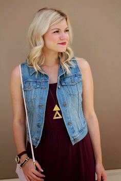 maroon, gold triangles and denim vest