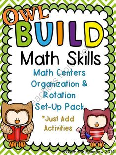 Owl themed B.U.I.L.D. Math Centers Organization & Rotation Set-Up Pack from overthemoonbow on TeachersNotebook.com -  (42 pages)  - This fun, owl themed resource pack contains everything you need to set�up a math centers routine in your classroom, just provide the activities!