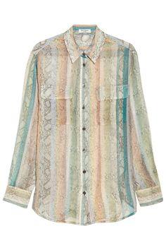 Signature python-print silk-chiffon shirt, Equipment