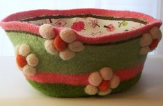 LARGE Felted  Bowl  Hand knit  One of a Kind  3D by PippsPurses, $70.00