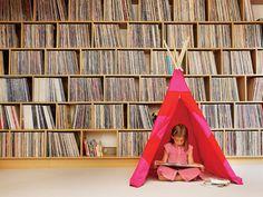 bookshelf for a wall and a teepee!