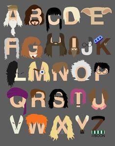 harri potter, letter, art prints, poster, hermione granger, harry potter, potter alphabet, black, alphabet art