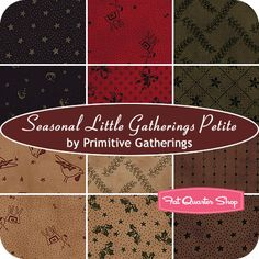 Seasonal Little Gatherings Petite Fat Quarter Bundle Primitive Gatherings for Moda Fabrics - Christmas Cloth Store