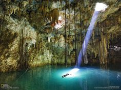 Sacred Waters, a cave in Yucatan, Mexico pool, national geographic, swimming holes, amazing nature, place, light, cave diving, bucket lists, spot