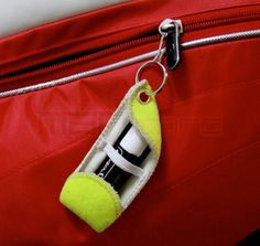 recycled tennis balls made into wallets, chap stick holders and more! love this.