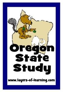 Oregon state study for kids with printable map.