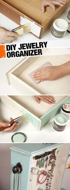An old drawer becomes a vintage-look jewelry organizer in this easy DIY. It just takes some paint and a few extra knobs. Your jewelry will thank you.