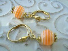 Orange Sherbert Dangle Wire Wrapped Earrings by KottageKreations, $12.00