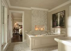 #bathroom Classic Bathroom beautiful tub frame/molding with marble counter.