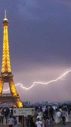 Lightning by the Eiffel Tower, Paris, France