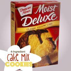 4-Ingredient Cake Mix Cookies #recipes