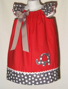 Elephant Bling Dress / Beautiful / Rhinestones / Red / Gray / Polka Dots / Newborn / Infant / Baby / Toddler / Custom Boutique Clothing on Etsy, $34.95