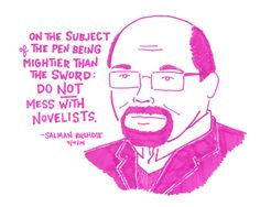 Salman Rushdie quote illustrated on Last Night's Reading by @kategavino