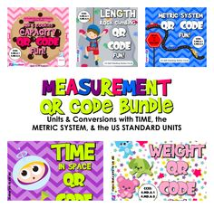 ($) Measurement Units and Conversions QR Code Fun Pack (4.MD.A.1, 4.MD.A.2)  This pack is aligned with common core standards 4.MD.A.1 and 4.MD.A.2 and contains five QR code task card titles on measurement units and conversions (time, capacity, length, weight, and the metric system). Each self-checking title has 24 task cards and a recording sheet.