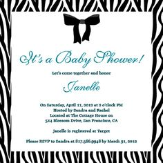 Baby Shower Invitations - A cute customizable zebra print baby shower invite