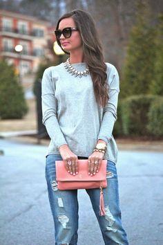Pink & Grey. Top: Zara. Jeans: ASOS. Clutch: K Slademade.