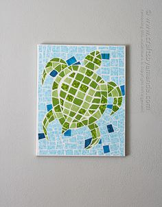 Mosaic Turtle Using Fabric and Canvas by @Amanda Formaro Crafts by Amanda