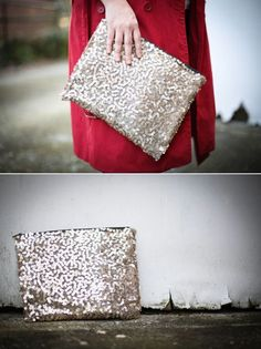 DIY: no sew sequin clutch