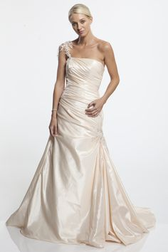 Gorgeous one shoulder wedding gown by Aalia dress, gown