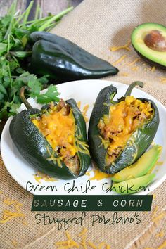 Roasted Green Chile Chicken Sausage & Corn Stuffed Poblano Peppers - The Housewife in Training Files Game day foods. Best game day recipes. Football party foods. #gameday #food #recipes