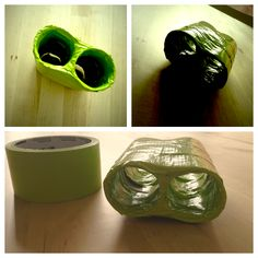 Toddler Crafts - Binoculars - Duct Tape and toilet paper rolls. So super easy. 2 TP rolls and lots of fancy Duct Tape (or plain duct tape, whatever floats your boat). Wrap, wrap, wrap those rolls to prevent tearing and for reinforcement. My little man thinks they're awesome! You can also add ribbon for a strap but I chose not to.