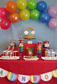 balloon rainbow over table  Classic Rainbow Birthday Party  Printable Party by yummypaper, $35.00