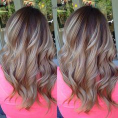 Big, soft curls on highlighted hair