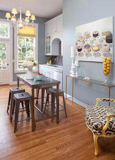 yellow accent kitchen
