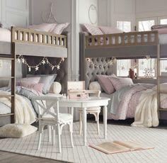 Chesterfield upholstered full-over-full bunk bed - Restoration Hardware baby  child.