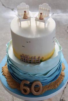 60th Birthday Cake Mom Birthday, Beach Cake, 60Th Birthday Cake, Beach Birthday Cake 60, Birthday Ideas, Birthday Cakes
