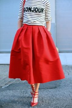 I think I pinned this top over at the Hipster Tipster once, but I'm pinning the skirt now. I have an electric blue skirt much like this: gathered waist; tea-length; pockets! I'd love a red one.