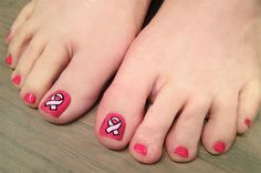 Pink ribbon pedi art by KiKi_Chicago - Nail Art Gallery nailartgallery.nailsmag.com by Nails Magazine www.nailsmag.com #nailart