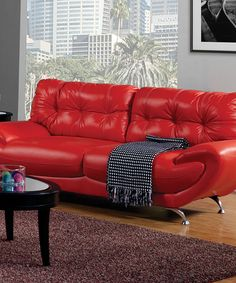 Loving this Red Contemporary Leatherette Sofa on #zulily! #zulilyfinds