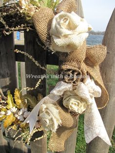 #Burlap flower #wreath with navigation ribbon   www.facebook.com/wreathswithareason