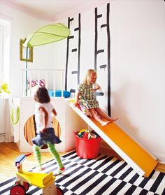 Slide, Puppet Theater, Play Nook - How fun is this playspace! #popandlolli #pinparty
