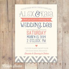 Vintage Rustic Chic Wedding Invitation Navy Coral and Seamist Mint Invite Printable or Printed Cards on Etsy, $18.00