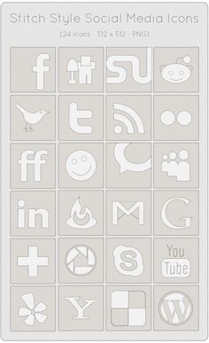 24 Stitch Styled Social Media Icons Set Free
