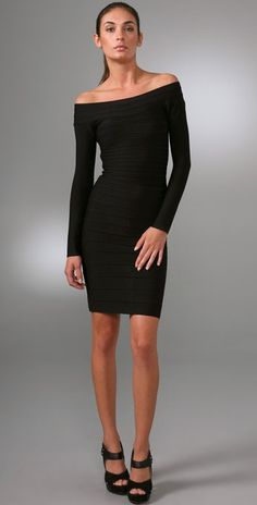 Herve Leger Boat Neck Bandage Dress Black