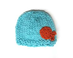 Knit baby hat Newborn knit hat with crochet fish by ktandthesquid, $20.00