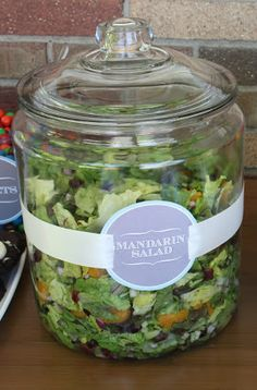 SO excited I came across this idea from 4 Men 1 Lady! Great way to serve greens and fruit salad at a backyard bbq without worrying about the bugs!