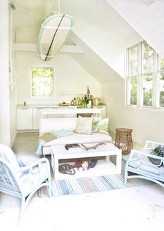 Beach inspired kids room - I could see a surfboard with dimmer switch down lights in the center of the room