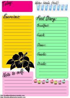 Printable food and exercise journal! Thought some of you might like this! GREAT IDEA WILL PRINT OUT TOMORROW!!!