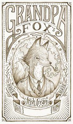 Grandpa Fox's Hand Drawn Label by Andrew Frazer