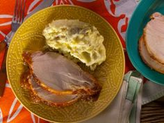 Roasted Pork Loin with Peach BBQ Sauce from CookingChannelTV.com