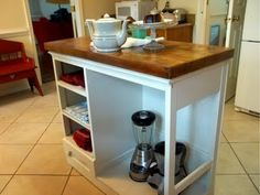 An old desk, turned kitchen island.