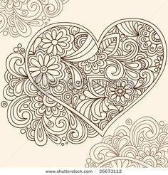 zentangle heart flowers, zentangle flowers and patterns, heart zentangle, color, doodles, henna tattoos, hennas, hand drawn, heart tattoos